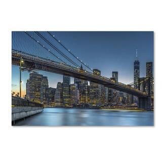 Michael Jurek 'New York Blue Hour Over Manhattan' Canvas Art
