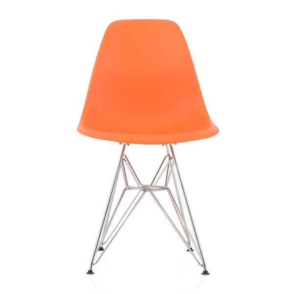 CozyBlock Orange Molded Plastic Dining Side Chair with Steel Wire Eiffel Legs. Opens flyout.