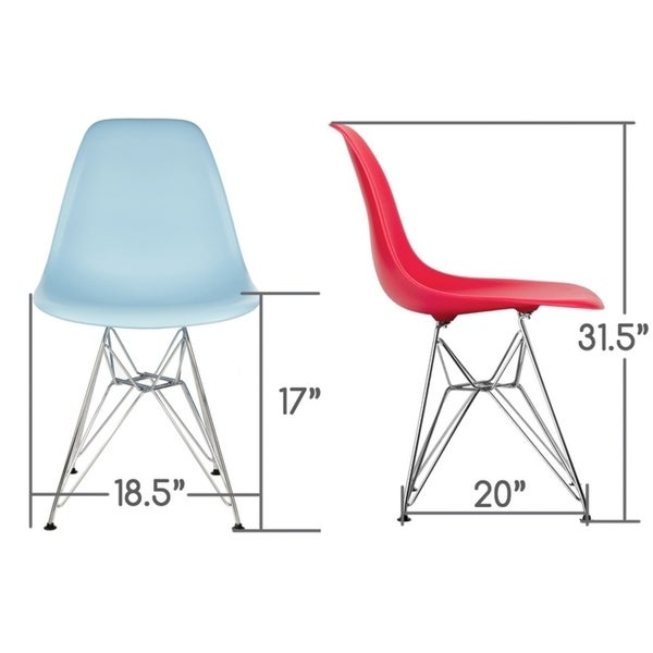 CozyBlock Orange Molded Plastic Dining Side Chair with Steel Wire Eiffel Legs