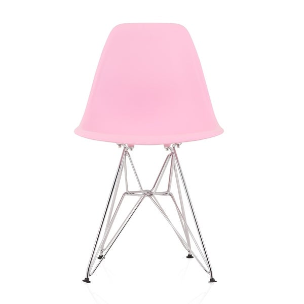 CozyBlock Pink Molded Plastic Dining Side Chair with Steel Wire Eiffel Legs. Opens flyout.