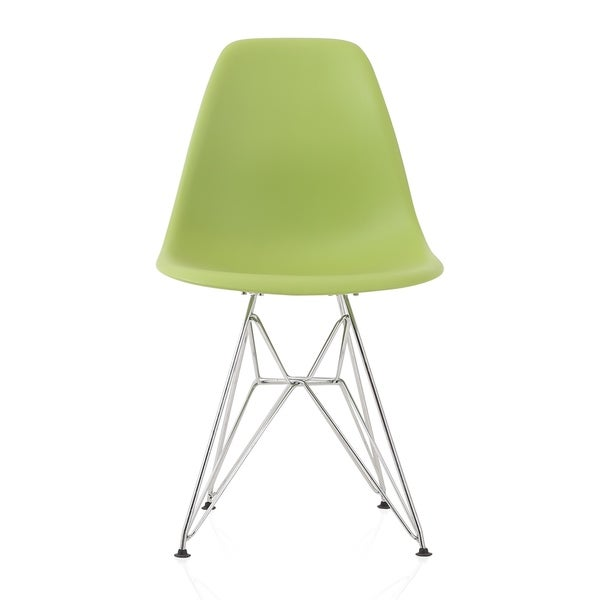 CozyBlock Green Molded Plastic Dining Side Chair with Steel Wire Eiffel Legs. Opens flyout.