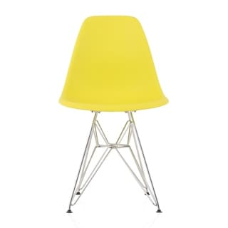 Link to CozyBlock  Molded Light Yellow Plastic Dining Shell Chair with Steel Eiffel Legs Similar Items in Dining Room & Bar Furniture