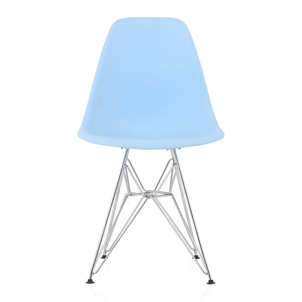 CozyBlock Blue Molded Plastic Dining Side Chair with Steel Wire Eiffel Legs. Opens flyout.
