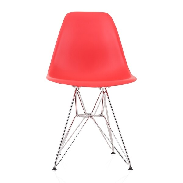 CozyBlock Red Molded Plastic Dining Side Chair with Steel Wire Eiffel Legs. Opens flyout.