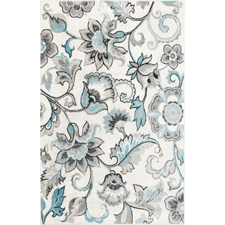 "Home Dynamix  Boho Distressed Floral Ivory-Blue Area Rug (5'2"" x 7'2"") - 5'2""x7'2"""