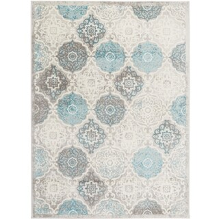 "Home Dynamix  Boho Distressed Trellis Gray-Blue Area Rug (5'2"" x 7'2"")"