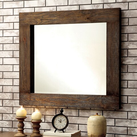 Furniture of America Shaylen Rustic Natural Tone Wall Mount Mirror - Brown
