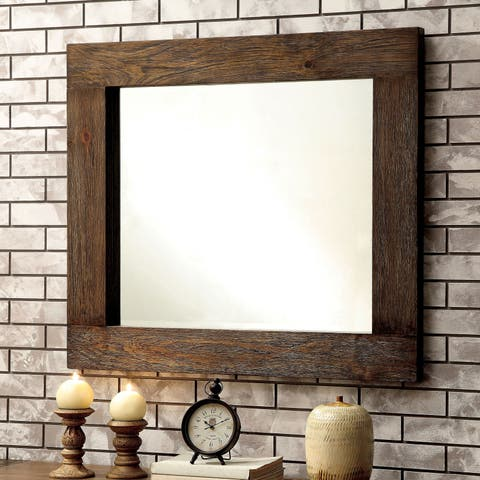 Furniture of America Shaylen Rustic Natural Tone Wall Mount Mirror - Brown - A/N