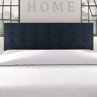 Porch & Den Silver Lake Morton Navy Blue Tufted Fabric Headboard