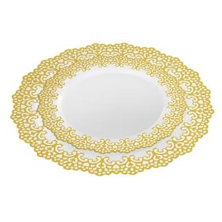"20 Guest Party Package Set 10"" Inch & 7.5"" Inch Dinner Plates Gold Rim
