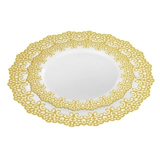 "20 Guest Party Package Set 10"" Inch & 7.5"" Inch Dinner Plates Gold Rim"