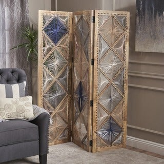 Marvia Wood Fabric Wall Divider by Christopher Knight Home