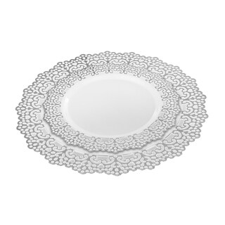"20 Guest Party Package Set (40 plates) 10"" Inch & 7.5"" Inch Dinner Plates Silver Lace Rim"