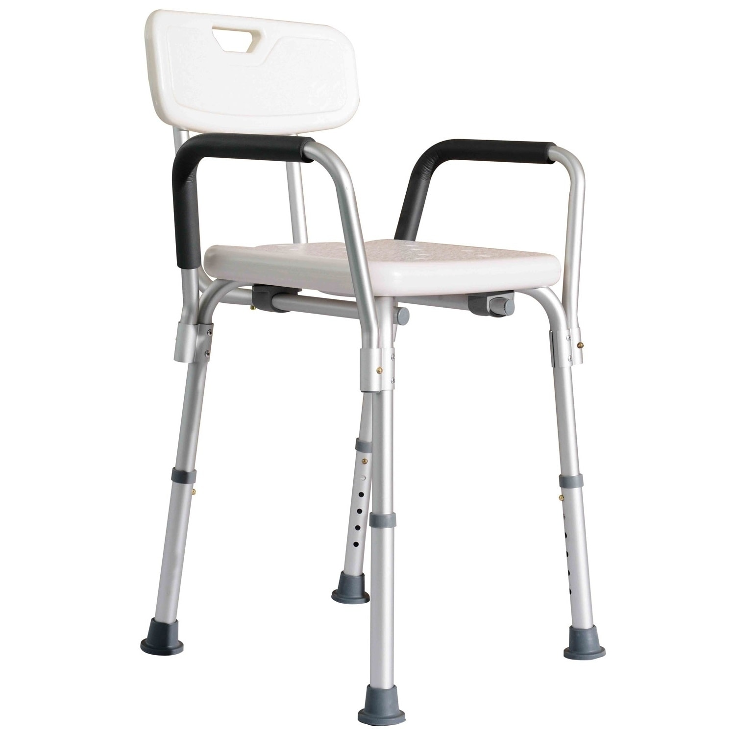 Homcom Adjustable Medical Shower Chair W Arms And Backrest