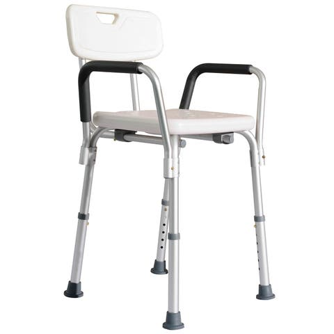 HomCom Adjustable Medical Shower Chair w/ Arms and Backrest