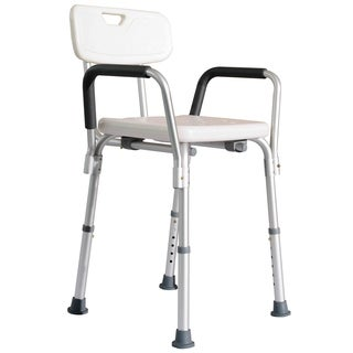 HomCom Adjustable Medical Shower Chair with Arms and Backrest
