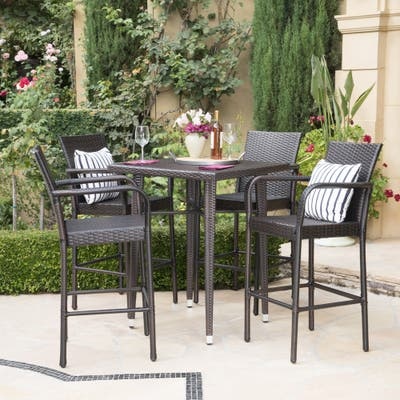 Colbin Wicker Outdoor 5-piece Bar Set by Christopher Knight Home