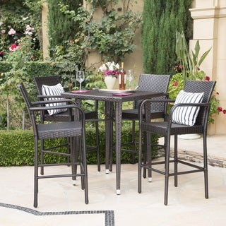 Colbin Outdoor 5 Piece Wicker 32 Inch Square Bar Set By Christopher Knight  Home