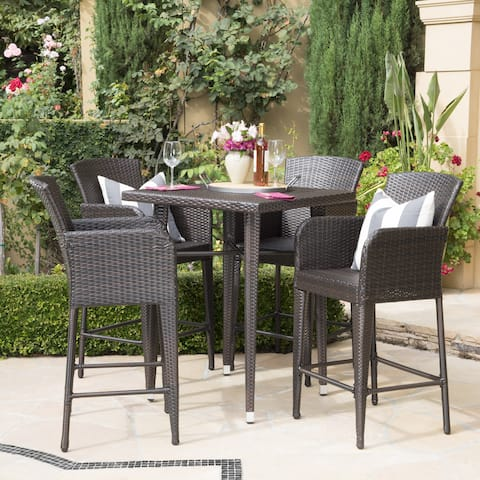 Landis Outdoor 5-piece Wicker 32-inch Square Bar Set by Christopher Knight Home