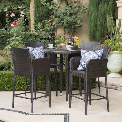 Callum Outdoor 5-piece Wicker 32-inch Round Bar Set by Christopher Knight Home