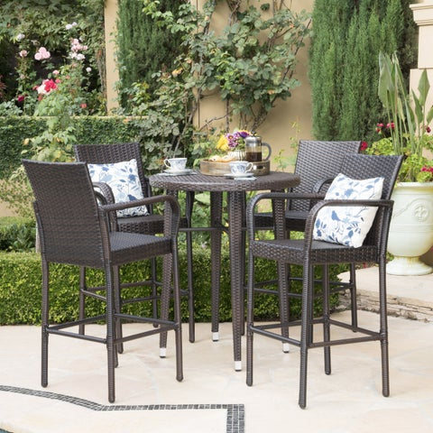Patina Outdoor 5-piece Wicker 32-inch Round Bar Set by Christopher Knight Home