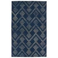 """Hand-Tufted Homa Navy Wool Rug - 5' x 7'9"""""""
