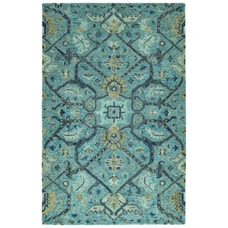 Bombay Home Ashton Blue Wool Hand-tufted Area Rug (5' x 7'9)