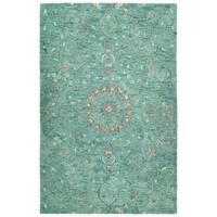 "Hand-Tufted Ashton Turquoise Wool Rug - 5' x 7'9"""