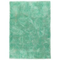 Hand-Tufted Silky Shag Turquoise Polyester Rug - 5' x 7'