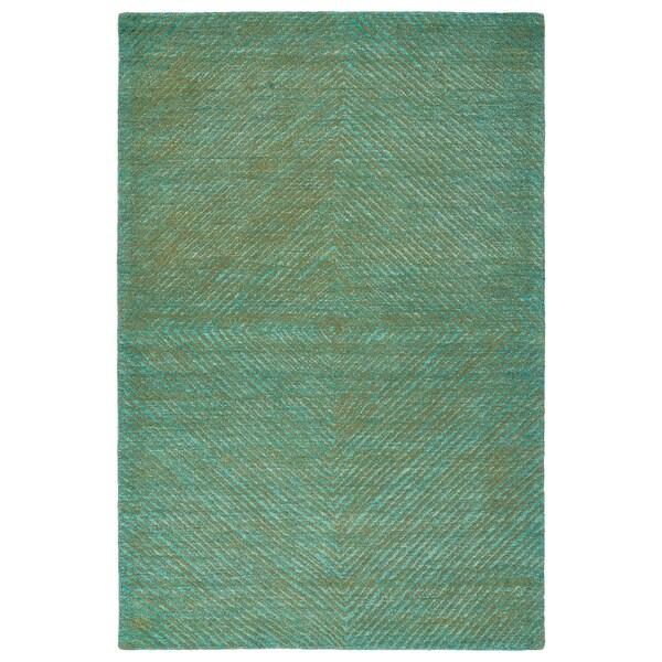 "Hand-Tufted Brantley Turquoise Wool Rug - 5' x 7'9"""