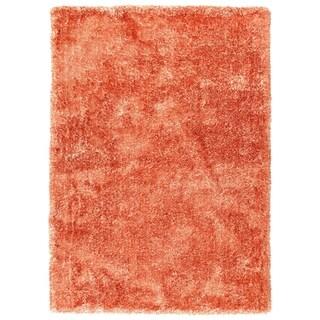 Hand-Tufted Silky Shag Tangerine Polyester Rug - 5' x 7'