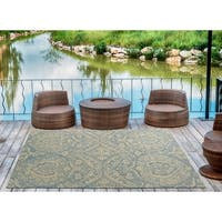 """Indoor/Outdoor Hand-Tufted Robinson Blue Polyester Rug - 5' x 7'6"""""""