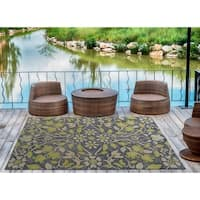 Indoor/Outdoor Hand-Tufted Robinson Navy Polyester Rug - 5' x 7'6""