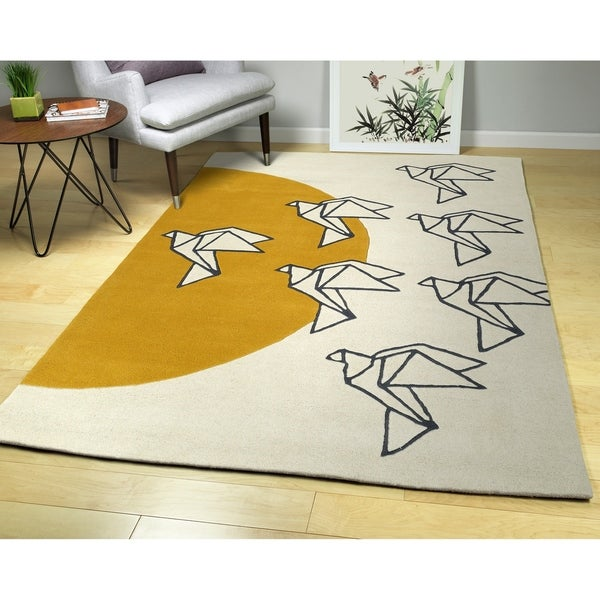 Hand-Tufted Zen Ivory Wool Rug - 5' x 7'6""