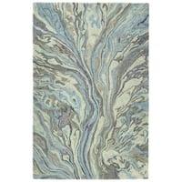 "Hand-Tufted Artworks Blue Wool Rug - 5' x 7'9"""