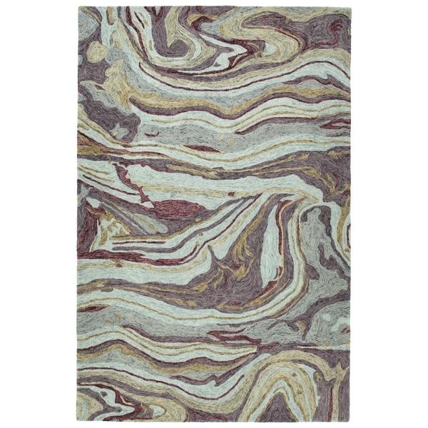 "Hand-Tufted Artworks Aubergine Wool Rug - 5' x 7'9"""