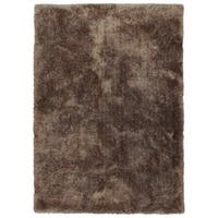 Hand-Tufted Silky Shag Brown Polyester Rug - 5' x 7'