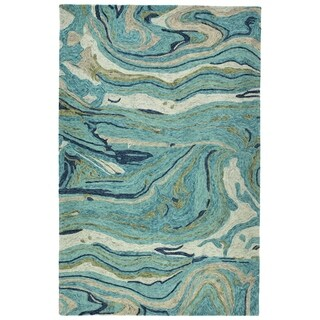 "Hand-Tufted Artworks Teal Wool Rug - 5' x 7'9"""