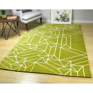 Hand-Tufted Zen Lime Green Wool Rug - 5' x 7'6""