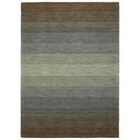 "Hand Made Blends Brown Wool Rug - 5' x 7'6"""