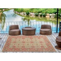 """Indoor/Outdoor Hand-Tufted Robinson Watermelon Polyester Rug - 5' x 7'6"""""""