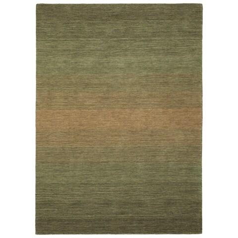"""Hand Made Blends Green Wool Rug - 5' x 7'6"""""""