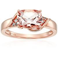 14k Rose Gold Morganite, Diamond Cushion Engagement Ring, Size 7 - Pink