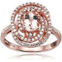 10k Rose Gold Morganite Diamond Double Swirl Engagement Ring, Size 7 - Pink