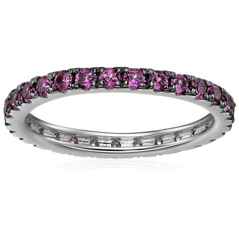 Sterling Silver Rhodolite Eternity Band Ring, Size 7 - Red