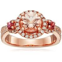10k Rose Gold Morganite, Pink Tourmaline Diamond Classic Ring, Size 7