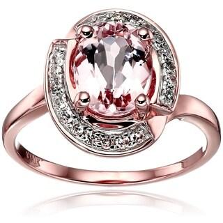 10k Rose Gold Morganite, Diamond Swirl Halo Engagement Ring - Pink