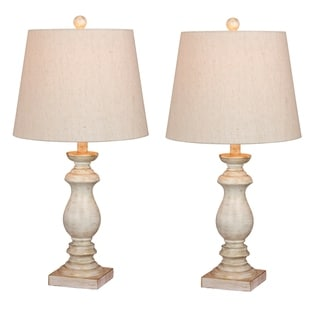 Fangio Lighting's 6233-2PK Pair Of 26 in. Antique Balustrade Column Resin Table Lamps in a Antique White Finish