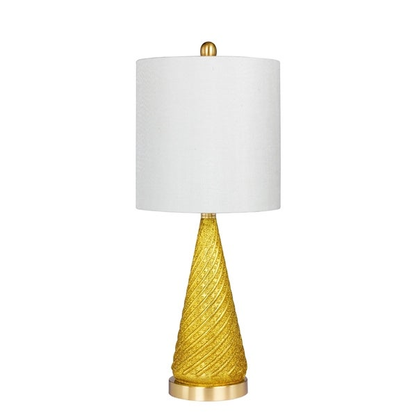 Fangio Lighting's 5149GLD 24.5 in. Royal Spiraled Cone Glass & Metal Table Lamp in a Gold Glitter and Satin Brass Finish