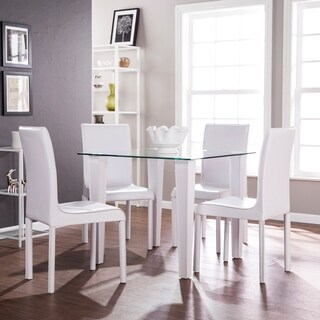 Harper Blvd Dalberry 5pc Square Small Space Dining Set - Glass w/ White